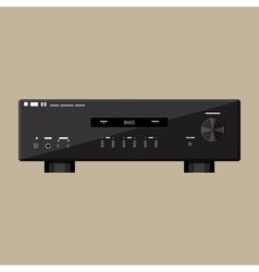 Home modern stereo sound amplifier in black vector image