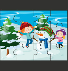 jigsaw puzzle game with girls and snowman vector image