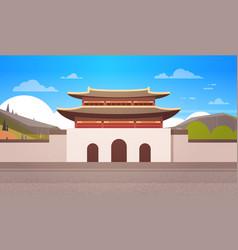 Korea temple landscape south korean palace over vector
