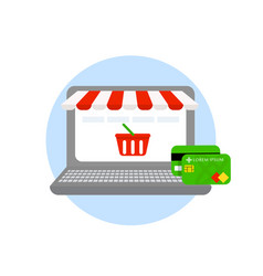 Laptop online shopping online store credit and vector