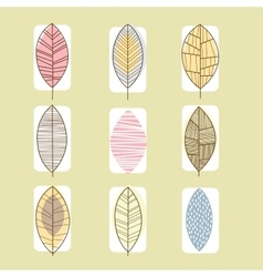 Leaf Icon Collection in Linear vector image
