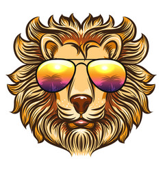 Lion in rainbow glasses vector