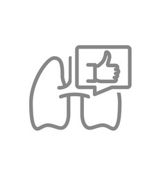Lungs with thumb up in speech bubble line icon vector