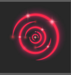 magic ripples red neon circle with sparks and vector image