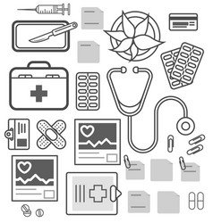 medical equipment isolated icon set vector image