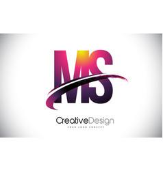 Ms m s purple letter logo with swoosh design vector