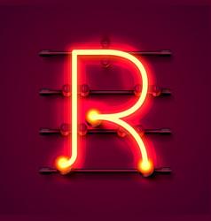 Neon font letter r art design signboard vector