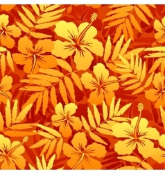 Orange tropical flowers seamless pattern vector