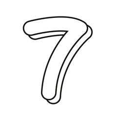 Outlined number seven on white background vector