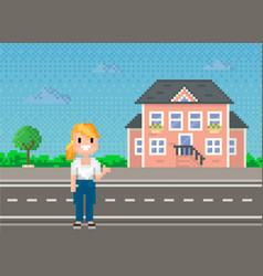 pixel woman for old pixel-game layout stands vector image