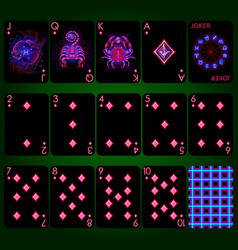 Playing cards series neon zodiac signs diamond vector