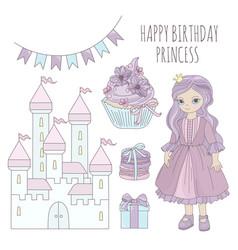 princess birthday fairy tale cartoon vector image