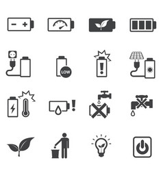 Prohibition and instruction battery icons set vector