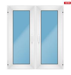 pvc window with two sash vector image