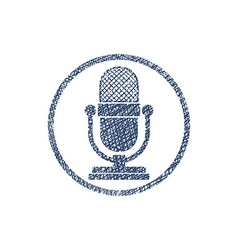 Retro microphone icon with hand drawn lines vector