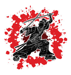 samurai standing ready to fight with swords vector image