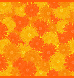 Seamless orange floral pattern vector