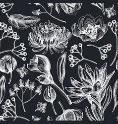 Seamless pattern with hand drawn chalk viburnum vector