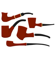 set different types smoke pipes different size vector image
