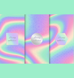 Set of neon holographic backgrounds vector