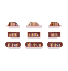 Set of retro bookshelves vector