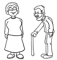 Simple black and white grandparents vector