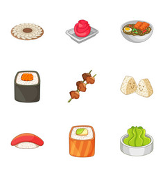 Sushi icons set cartoon style vector