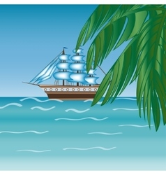 Three masted sailing ship frigate transport vector image