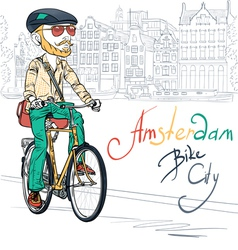 trendy hipster bearded boy on a bike vector image