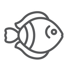 tropical fish line icon nature and animal vector image