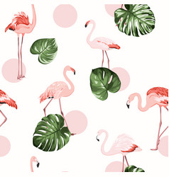 tropical pattern whith flamingo vector image