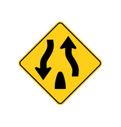 usa traffic road sign warning of divided hightway vector image