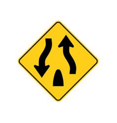 Usa traffic road sign warning of divided hightway vector