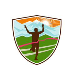 victorious marathon runner shield vector image