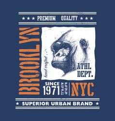 vintage urban typography with gorilla head vector image