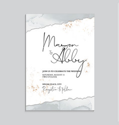 wedding grey invitation cards with luxury gold vector image