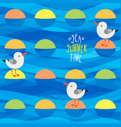 With sea gulls and islets vector
