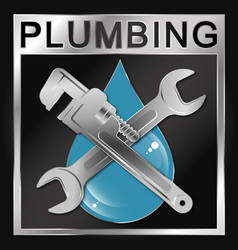 Wrench and water drop symbol plumbing vector