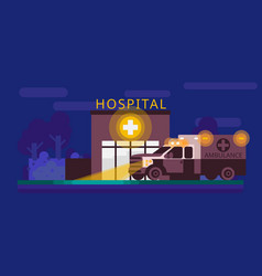 hospital facade and ambulance car flat vector image