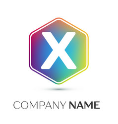 letter x logo symbol in the colorful hexagonal on vector image vector image