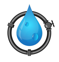 pipes and water drop vector image