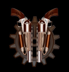 Two steampunk revolvers vector image