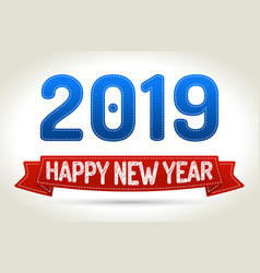 2019 - happy new year- red ribbon with shadow on vector image vector image