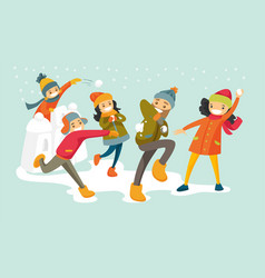 caucasian white family playing snowball fight vector image vector image