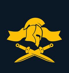 emblem logo template with spartan helmet swords vector image vector image
