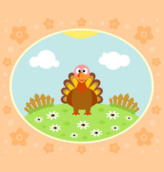 farm background with funny turkey vector image