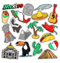 Mexico Travel Scrapbook Stickers Patches Badges vector image vector image