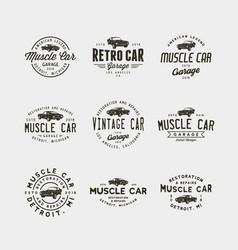 set of vintage muscle car garage logos vector image