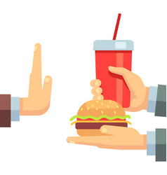 stop fast food junk snacks concept with vector image
