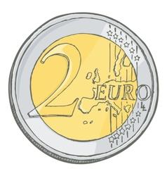2euro coin sketch vector image vector image